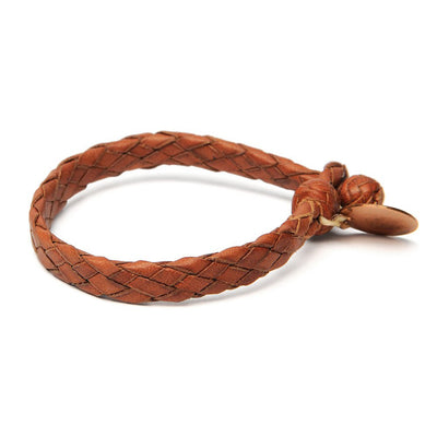 Wide Flat Weaved Leather Bracelet - Tan