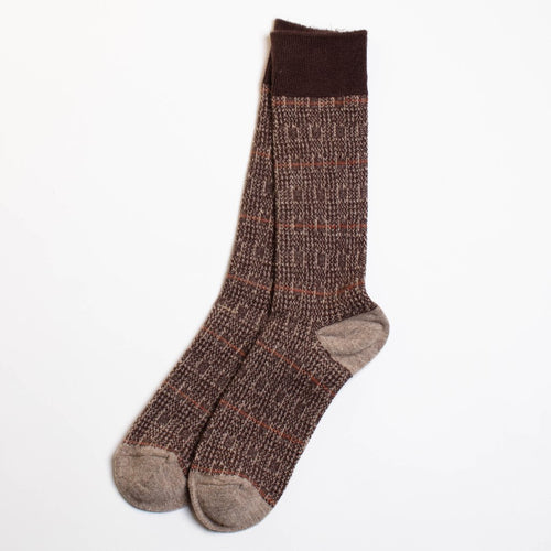 Wool Glen Check Crew Socks - Beige