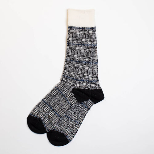 Wool Glen Check Crew Socks - Black