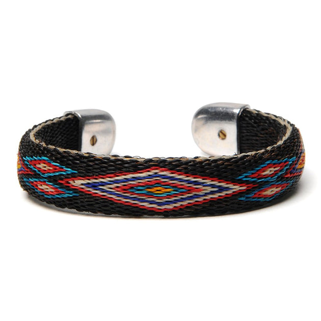Bendable Horsehair Bracelet - Black/Turquoise/Red