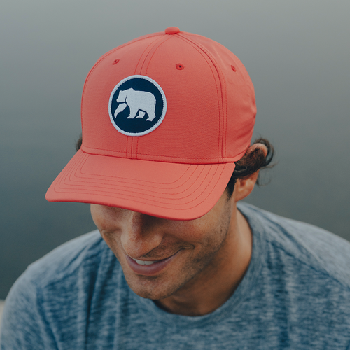 Circle Patch Performance Cap - Coral/Navy