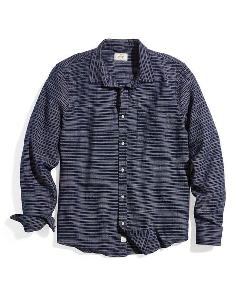 Classic Fit Selvage Shirt - Navy/Pink Stripe