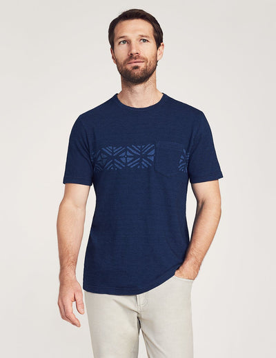 Sandy Cay Striped Tee - Dark Indigo Navy Wash