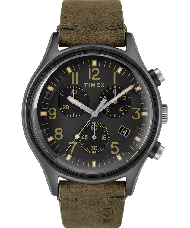 MK1 Steel Chronograph 42mm Leather Strap Watch - Gray/Green/Black