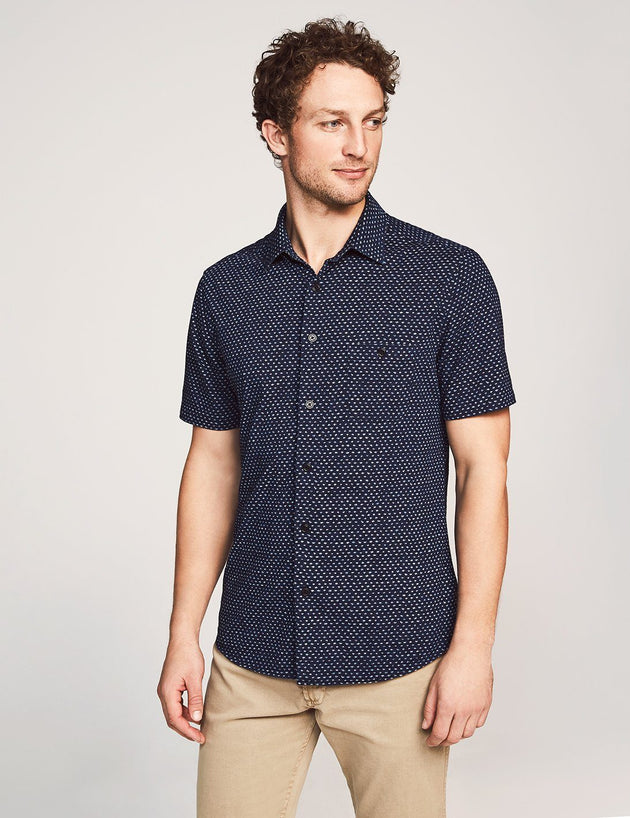 Knit Coast Short Sleeve Button-Up - Dark Indigo Fleck