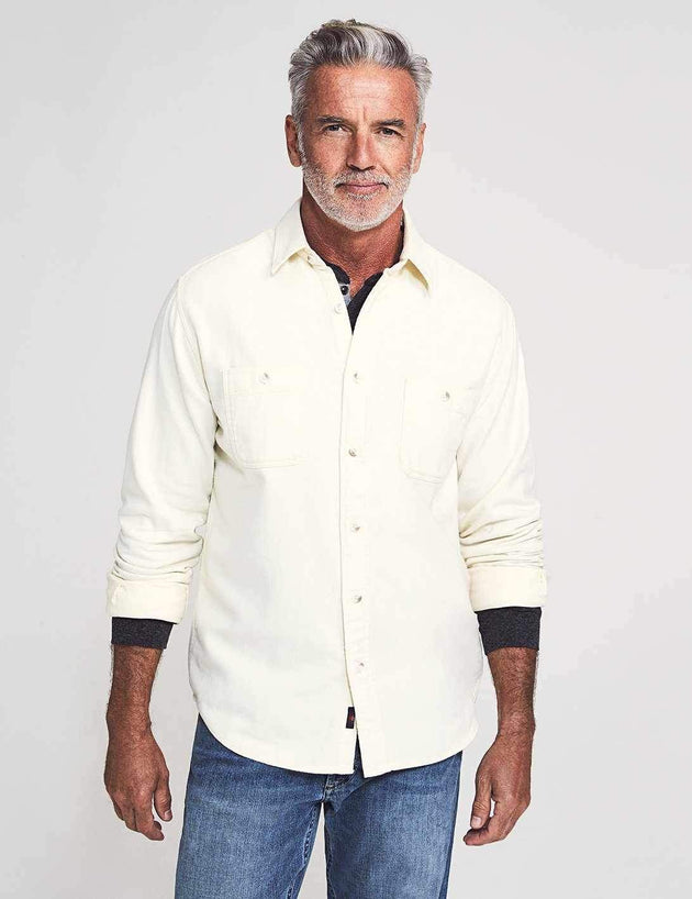 Brushed Alpine Flannel Long Sleeve Button-Up - Cream