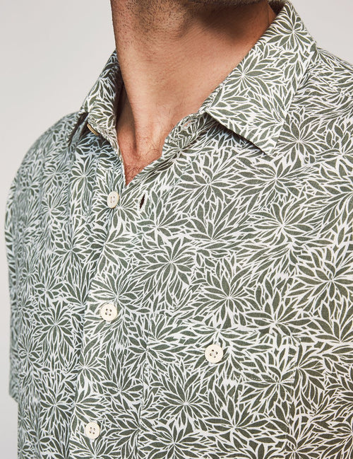 Island Short Sleeve Button-Up Shirt - Olive Frond