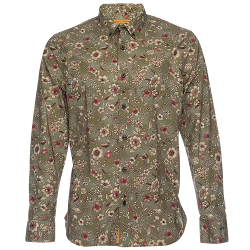 Truman Long Sleeve Button Up - Olive Floral