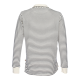 Nicholas Dobby Stripe Polo - Gray/Cream