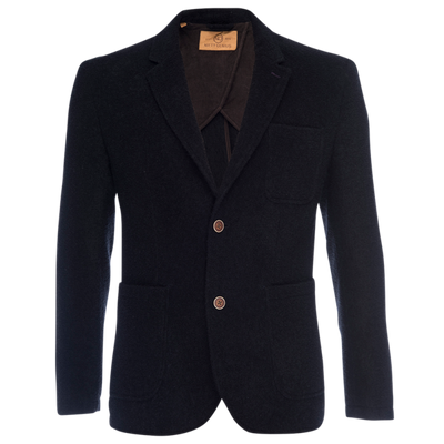 Kurt Notched Lapel Blazer in Chenille - Black