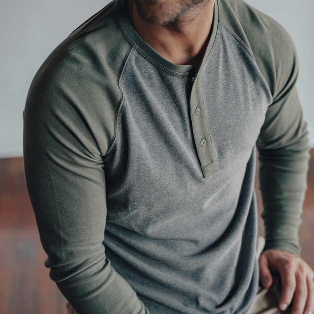 Puremeso Retro Henley - Grey/Green