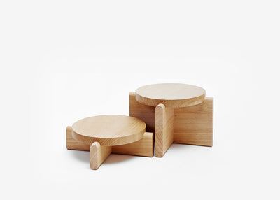 Natural Wood Pedestals, Set of 2