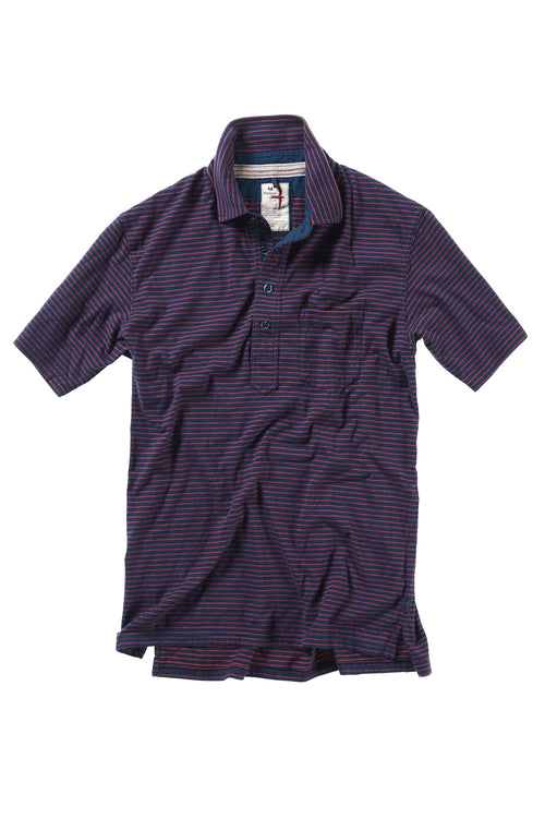 Finespun Stripe Polo - Dark Navy/Red