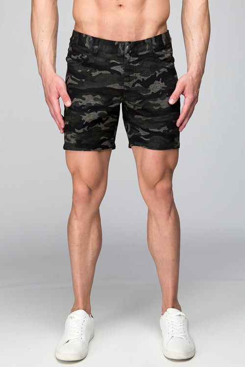 Stretch Knit Shorts - Printed Camo