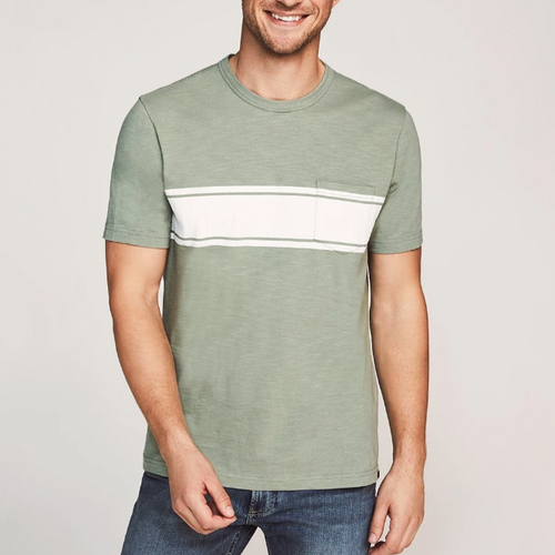 Surf Stripe Pocket Tee - Green/White