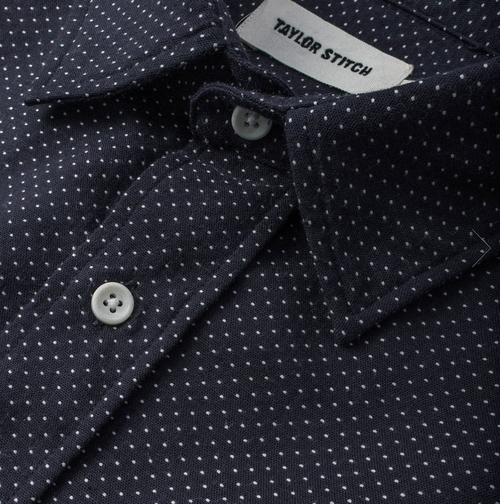The California - Navy With White Jacquard Dot