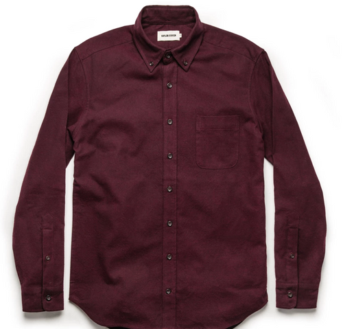 The Jack Long Sleeve Button Up Brushed Oxford - Maroon