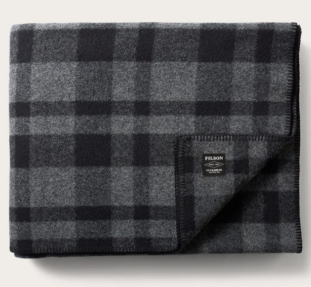 Mackinaw Blanket - Grey/Black Plaid