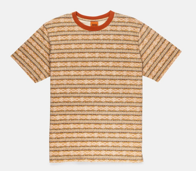 Tribe Stripe Crew T-Shirt - Tobacco
