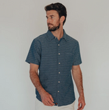 Freshwater Short Sleeve Button-Up Shirt - Navy Freshwater
