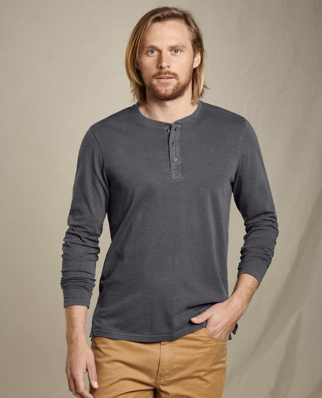 Primo Long Sleeve Henley - Soot Vintage Wash