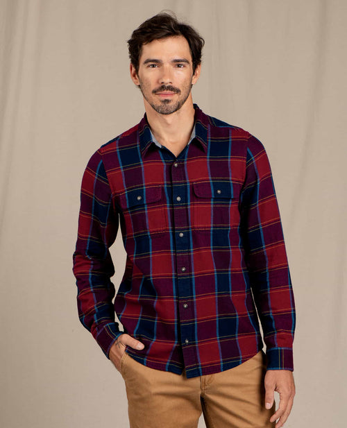 Indigo Flannel Long Sleeve Slim Shirt - Port Window Pane