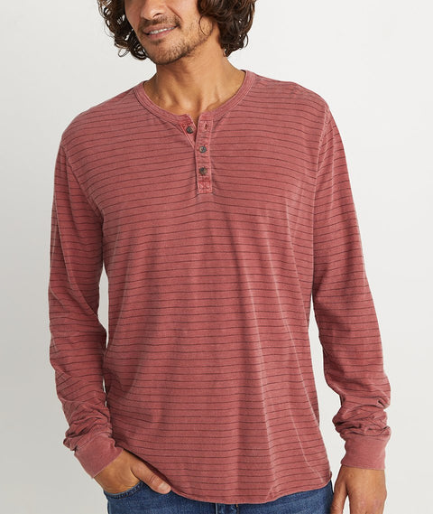 Light Weight Henley - Henna/Black Stripe
