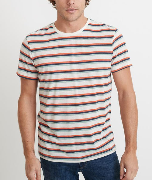 Re-Spun Stripe Short Sleeve Crew - Multi Stripe