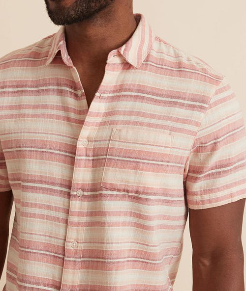 Short Sleeve Selvage Shirt - Warm Ombre Stripe