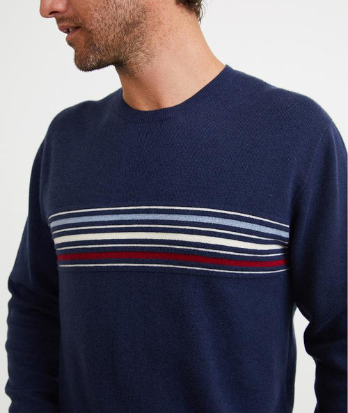 Allen Striped Crew Neck Sweater - Light Navy