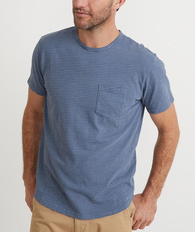 Saddle Pocket Tee - Blue/White Stripe