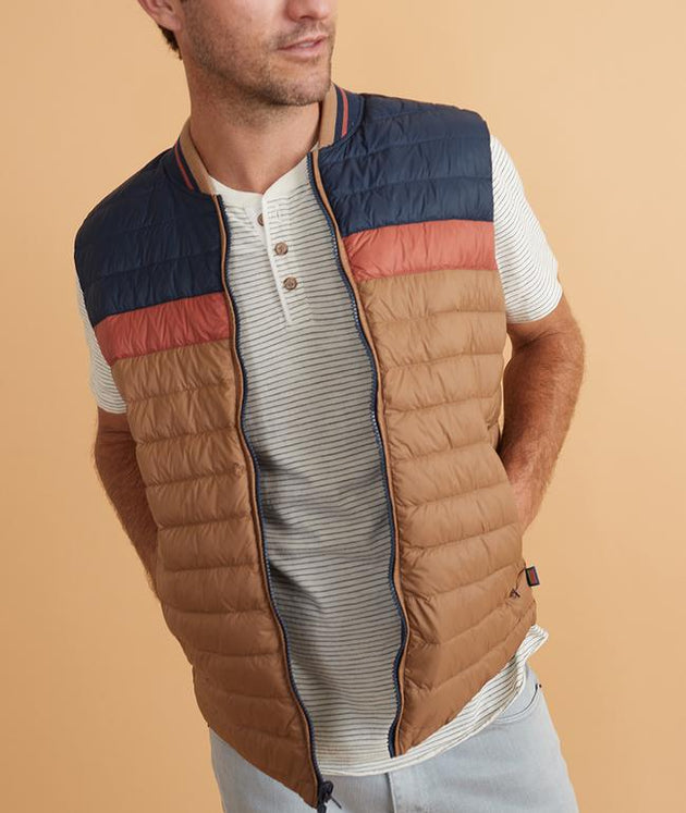 Vail Reversible Puffer Vest - Navy/Faded Auburn/Tan