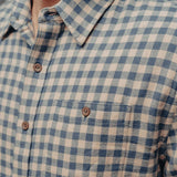 Stephen Button Up Shirt - Light Blue/Khaki Plaid