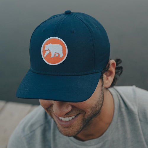 Circle Patch Performance Cap - Navy/Orange