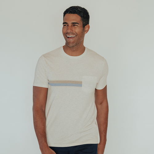 Chest Striped Pocket T-Shirt - Stone