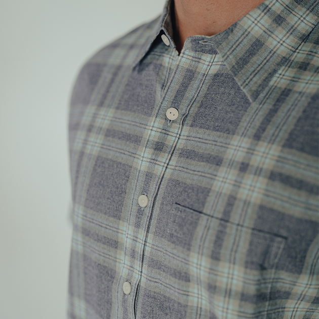 Jasper Long Sleeve Button-Up Shirt - Indigo Plaid