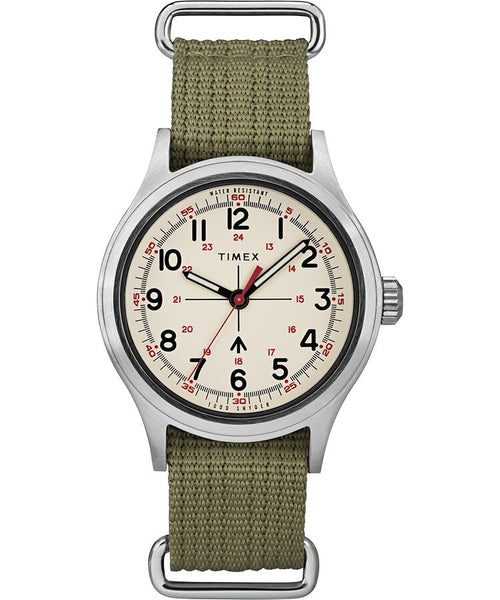 Timex x Todd Snyder Military Inspired 40mm Fabric Strap Watch - Silver Tone/Silver/White