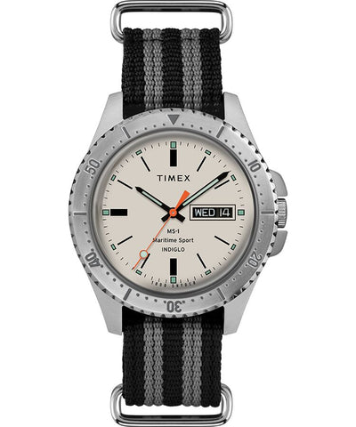 Timex x Todd Snyder MS-1 41mm Fabric Strap Maritime Sport - Steel/Gray/White