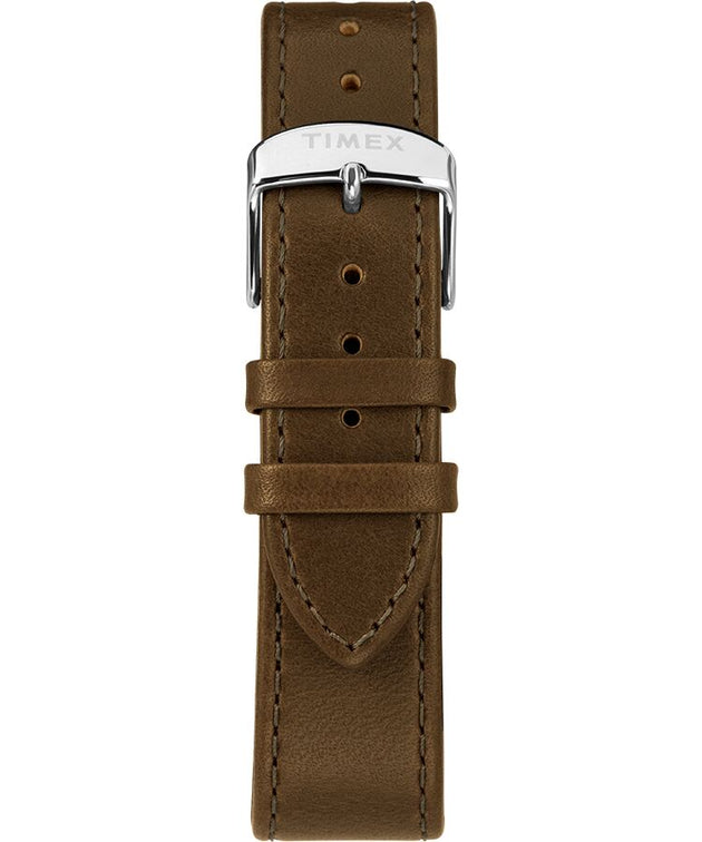 Standard 40mm Leather Strap Watch - Silver Tone/Green/Gray