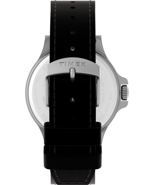 Allied® Coastline 43mm Fabric Strap Watch - Silver Tone/Orange/Black
