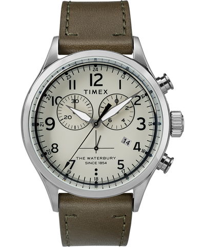 Waterbury Traditional Chronograph 42mm Watch - Stainless/Green/Cream