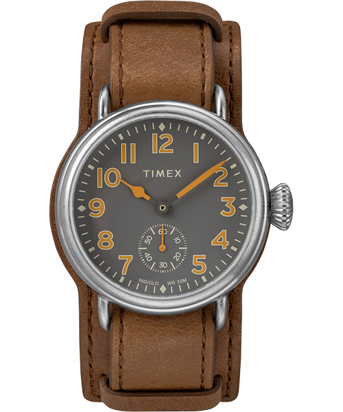 Welton 38mm Leather Strap Watch - Stainless Steel/Brown/Black