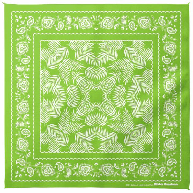 Wild Palms Bandana - Lime Green