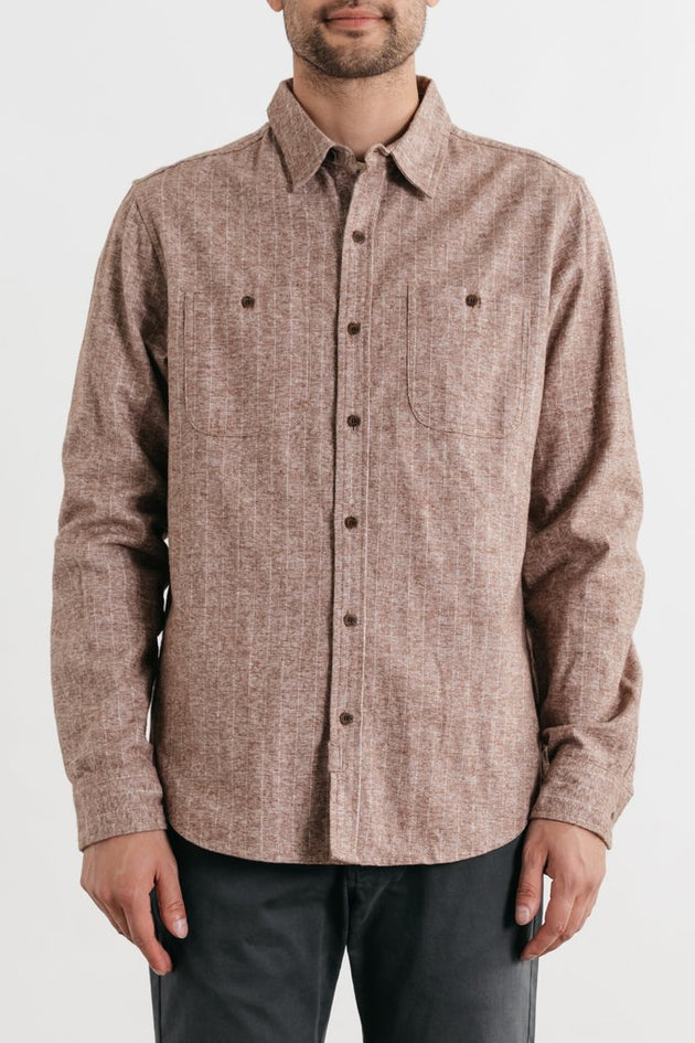 Winslow Long Sleeve Button Up - Tan Heather Stripe