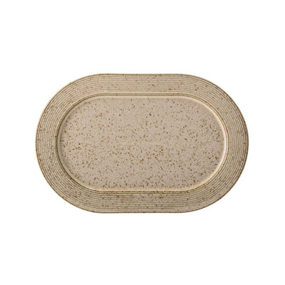 Beige Stoneware Speckled Finish Platter - Small