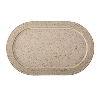 Beige Stoneware Speckled Finish Platter - Large