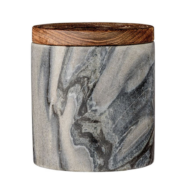 Grey Marble Jar with Mango Wood Lid