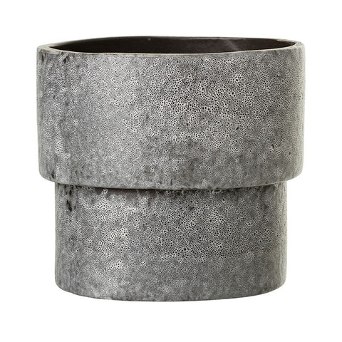 Reactive Glaze Stoneware Flower Pot - Grey