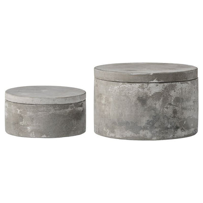 Cement Boxes with Lids, Set of Two