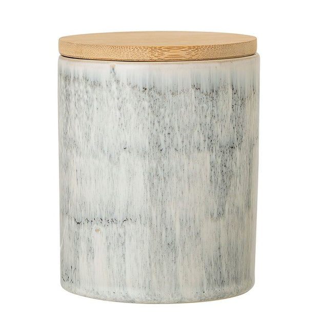 Reactive Glaze Stoneware Canister with Bamboo Lid - White & Grey